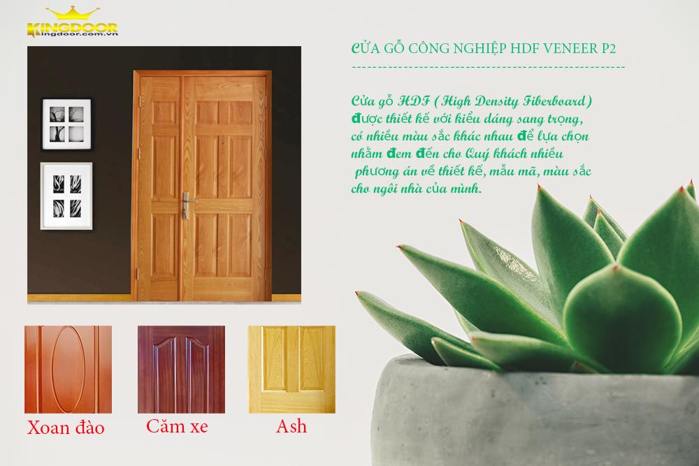 Cửa gỗ hdf veneer mẫu P2 ( Cửa mẹ con ) - ASH