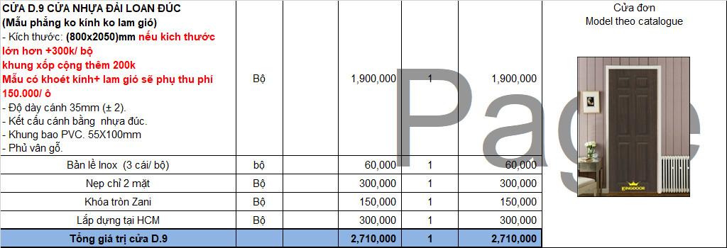 Bảng giá cửa nhựa Đài Loan nhựa Đúc